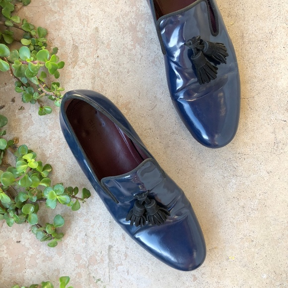 aa9700714 Celine Shoes | Navy Blue Patent Leather Tassel Loafers | Poshmark